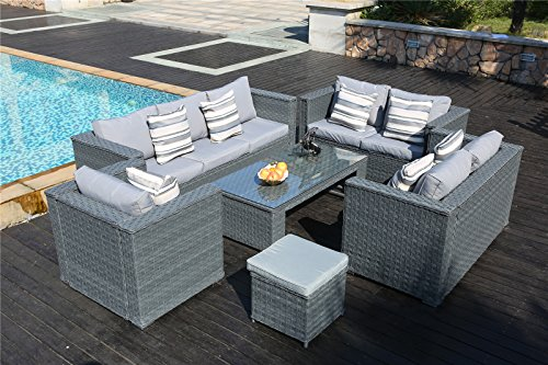 Yakoe 50181 Monaco 8 Seater Luxury Rattan Garden Furniture
