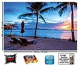 GREAT ART XXL Poster - Twilight Sonnenuntergang am Strand - Zwielicht Strand Bild Deko Meer Paradies Sonne Ozean Wanddekoration Wandbild Sandstrand Motiv Dekoration Fotoposter (140 x 100 cm)