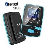Reproductor MP3 por Bluetooth CFCZ con clip de 16GB para deporte con radio FM, podómetro, tarjeta micro SD expansible a 64GB, color negro