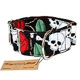 CandyPet Halsband für Hunde aus Baumwolle – Hundehalsband – Handarbeit – extra breit – in 4 Größen – mit oder ohne Clickverschluss – leicht verstellbar -Roses Martingal 4cm (30-40cm)