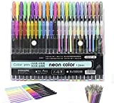 48 penne con inchiostro gel (12 penne effetto metallizzato 12 penne effetto glitterato 12 penne effetto neon 12 penne effetto pastello) più 48 ricariche, per libri da colorare per adulti, disegno
