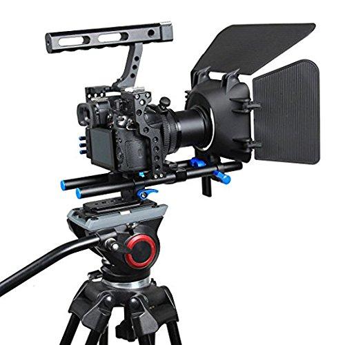 YaeCCC Aluminiumlegierung C500 Kamera Video Käfig mit Matte Box und Follow Focus für Nikon, Pentax, Sony, Olympus schwarz, orange, rot Pentax-box
