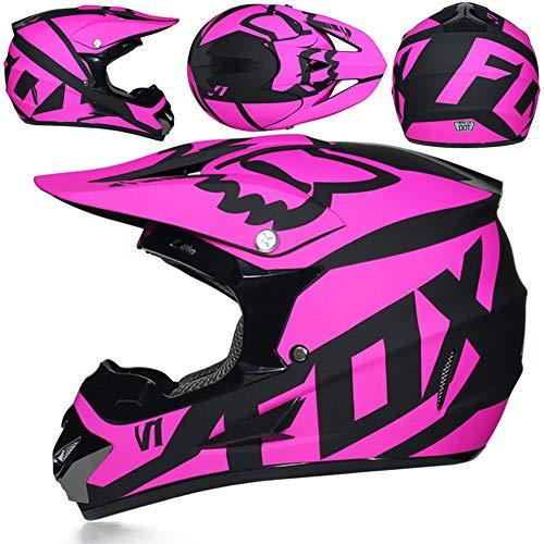 Casco Moto, Casco Fuoristrada Fox Adulto, Casco da Downhill Casco da Bici Downhill MX ATV/Casco da Moto, Guanti Regalo/oculari/Maschere,J,S