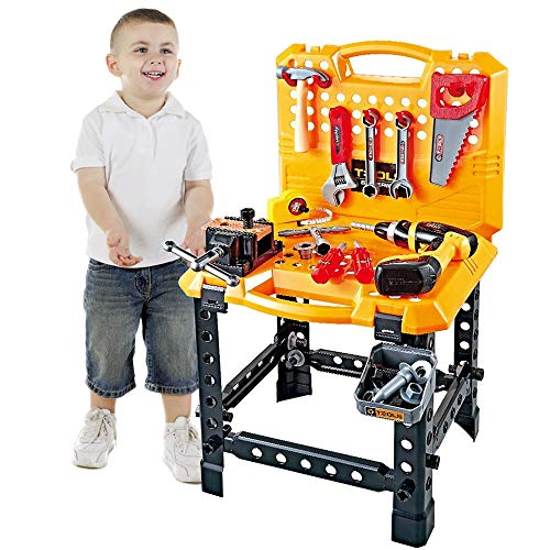 Young Choi's 120 Pieces Toddlers Toy Shop Tools for Boys, Toy Workbench tool box for kids, tools kids Toy Bench Construction Set with Tools and toy Drill