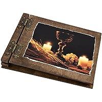 Aldecor - Album portafoto in legno per la prima Comunione, motivo: calice e candele su velluto nero
