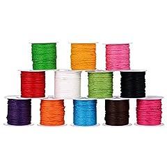 Idea Regalo - Shappy 12 Rotoli 1 mm Cerata Cordino, Imitazione Pelle Filo Cerato Intrecciato Corda per Mestiere Fabbricazione, Fai Da Te, Perline, 12 Colori, 10 Metri Ogni