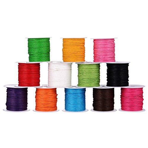 12 Rolls 1 mm Polyester Schnur, Kunstleder Gewachstes Gewinde Geflochtene Schnüre für Handwerksfertigung, DIY, Bördeln, 12 Farben, 10 Meter jeder