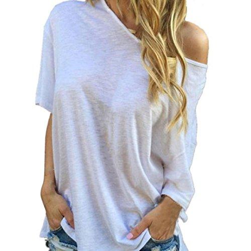 BHYDRY Frauen Sommer Kurzarm Bluse Casual Tops T-Shirt Weiß(Weiß,S)