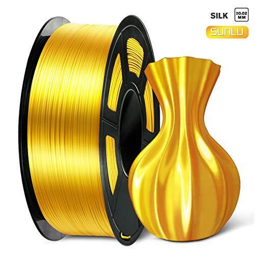 SUNLU 3D Filament 1.75, Shiny Silk PLA Filament 1.75mm, 1KG PLA Filament 0.02mm for 3D Printer 3D Pens, Light Gold