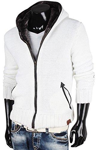 Tazzio Herren Strickjacke Strickjacke Cardigan Jacke Weiß