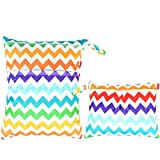 Damero 2pcs Sacchetto del pannolino lavabile con zip impermeabile, Colorful Chevron