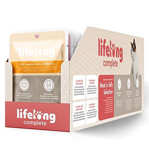 Marque Amazon- Lifelong Aliment complet pour chats adultes- Sélection à la viande en gelée 2,4 kg (24 sachets x 100g)
