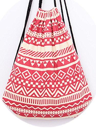 genießen sacchetto turn sacchetto custodia Sacchetto fotocamera Hipster sacchetto di iuta borsa da spiaggia viaggio escursionismo arabo stile, Rot (bianco) - BE0002