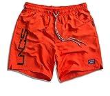 UNCS Herren Badeshorts schnelltrocknend in blau, Navy und DREI Neonfarben, Größe M - 4XL, Farbe:Neon Orange;Größe:XL