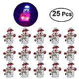 Tinksky Weihnachtsbrosche Pin Set beleuchtet Schneemann Geschenk Tasche Abzeichen Brosche mit LED-Licht für Kinder Geschenk 25Stk