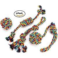 Hundespielzeug Set,EADE Hund Seil Spielzeug,Interaktives Kauspielzeug Spielzeug,Vorteilhaft für die Psychische Gesundheit und Zahnreinigung des Hundes,Ideal für Kleine/Mittlere Hunde(4 Stück)