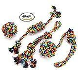 EADE Hundespielzeug Set,Hund Seil Spielzeug,Ball,Baumwollknoten,Kauspielzeug Spielzeug,Interaktives Spielzeug,Vorteilhaft für die Psychische Gesundheit und Zahnreinigung des Hundes,Ideal für Kleine/Mittlere Hunde (4 Stück)
