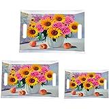 Mehul Melamine Design - Square Rose Sunflower (3 Pcs) Serving Tray (Large, Medium & Small)