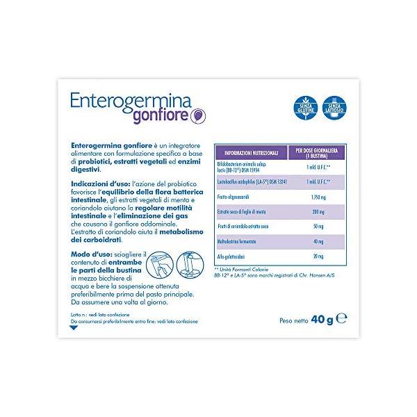 Enterogermina Gonfiore Integratore alimentare contro il gonfiore addominale, 10 bustine da 2+2 g, senza lattosio e senza… 3 spesavip