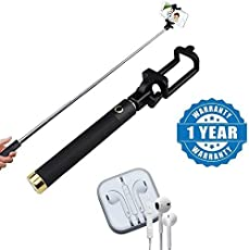 Captcha Locust Series Pocket Size AUX Selfi Stick With Earpod with Extra Bass, Sound Controller and Mic Compatible with Xiaomi, Lenovo, Apple, Samsung, Sony, Oppo, Gionee, Vivo Smartphones (One Year Warranty)