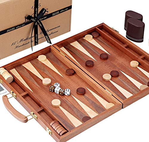 Jaques of London Backgammon Set - 15 Zoll - Luxus Mahagoni