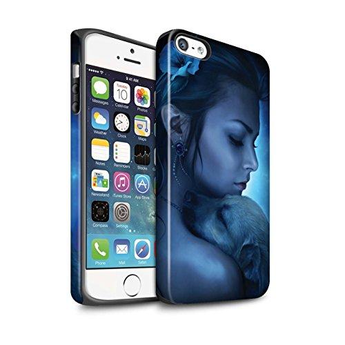 Officiel Elena Dudina Coque / Matte Robuste Antichoc Etui pour Apple iPhone 5/5S / Jacinthe Design / Les Animaux Collection Le Calin/Chiot/Chien