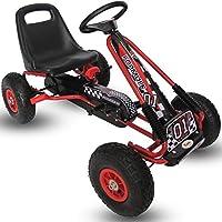 Kiddo by Raygar Racer - Kart de pedales para niños (asiento ajustable, ruedas de goma para niños de 4 a 8 años), color rojo