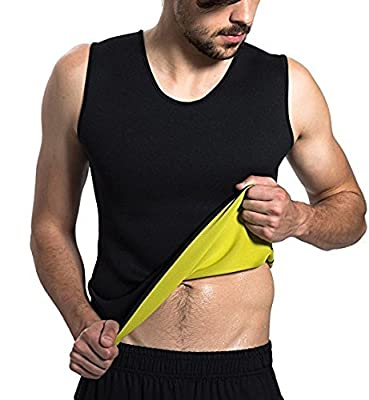 Mens Hot Sweat Body Shaper Vest Tummy Fat Burner Slimming Sauna Tank Top Weight Loss Shapewear Black by AL'IVER Beauty