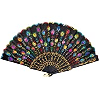 Esung Colored Embroidered Flower Pattern Black Cloth Folding Hand Fan for Woman