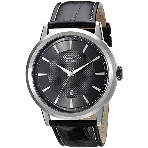 KENNETH COLE MEN'S 44MM BLACK LEATHER BAND STEEL CASE QUARTZ WATCH IKC1951