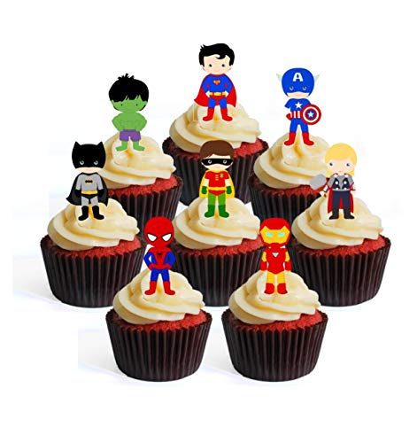 Superhero Superhelden Thema #1 Edible Cupcake Toppers - Stand Up Wafer Cake Decorations (Packung mit 24)