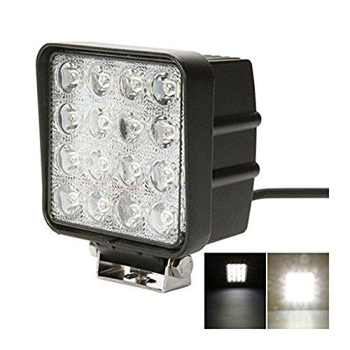 48W 4 Square LED Work Light 6000k Spot Beam 4200Lumens for ATV Jeep Wrangler 4x4 Rv Trailer Fishing Boat Tractor Truck (Pack of 1) by TTX LIGHTING