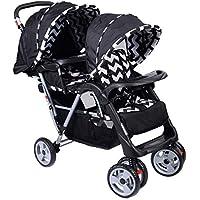 Costway Twin Passeggino per bambini passeggino gemellare, reclinato e pieghevole, Scelta a colori (nero)