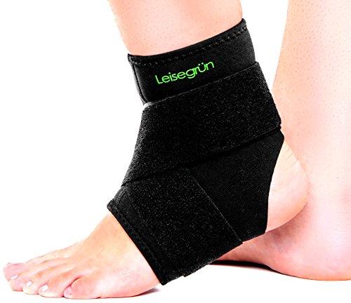 Leisegrün® Sprunggelenkbandage mit Klettverschluss, stützt den Fuß beim Sport wie Handball, Fußball, Volleyball – Fußgelenkbandage geeignet für Damen, Herren und Kinder – Größe L-XL