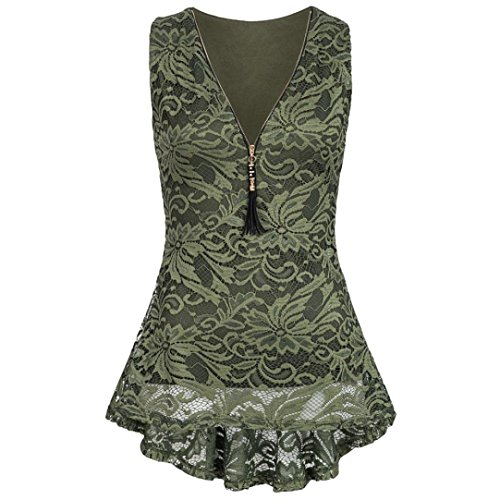 OverDose Damen Sommer Ärmellos T-Shirt Hemd Frauen Lose Tank Tops Kreuz zurück Saum Gelegt Reißverschluss V-Neck Tops(Z-B-Grün,EU-40/CN-M) (Der Herzen Königin Kind)