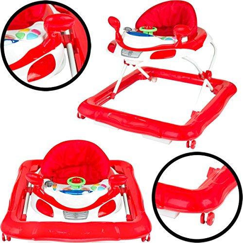 Lauflernhilfe Racer (ROT / WEIß) mit Spielcenter (5 Melodien) Baby Walker