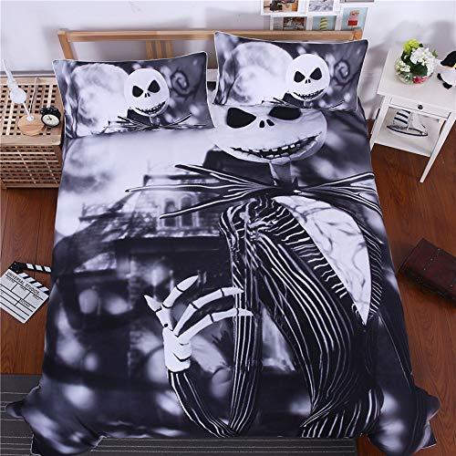 (L&U 3D Schwarzer Anzug Gedruckt Halloween Polyester 3-Teilig Schwarz Bettwäsche-Sets/Bettbezüge,B,King)