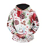 Geilisungren Hoodie Herren 3D Druck Kapuzenpullover Weihnachten Sweatshirt Sankt Weihnachtsmann Schneeflocke Renntier Muster Pullover Übergrößen Langarm Tops Bluse für Männer Gr.S-5XL