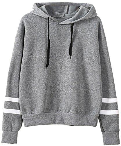 Leslady Femme Sweatshirt Capuche Manche Longue de Loisir Sport Col Rond Imprimé Alien Deux Coloris Sweat-shirts Gris1