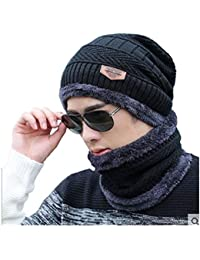 Alexvyan Unisex Woolen Beanie Cap and Neck Scarf (Black)