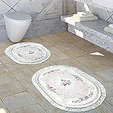 Paco Home Tappeto da Bagno Motivo Floreale Lavabile Comodo Scendibagno Rosa Antico Crema, Dimensione:1mal 160x100 1mal 50x60