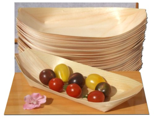 Bamboo Wood Boats Large x50 for party foods, snacks, nibbles, canapà 225X125mm