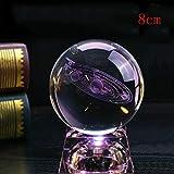 H.eternal Sistema Solar 3D Bola de Cristal Grabado Sistema Solar Modelo planetario en Miniatura y Modelo de Alce Transparente LED lámpara Asiento decoración Regalos (8cm-B)