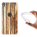 WoowCase Alcatel Shine Lite Hülle, Handyhülle Silikon für [ Alcatel Shine Lite ] Naturales Holz Handytasche Handy Cover Case Schutzhülle Flexible TPU - Transparent