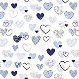 Herzen Blau Weiß 100% Baumwolle Baumwollstoff Kinder