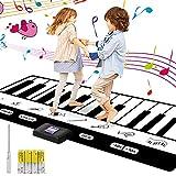 Tappeto Musicale, 24 tasti Tastiera Danza/ 8 impostazioni di strumenti musicali, Piano Playmat Strumento Musicale Tocca la tastiera Giocattoli Educativi per bambina 4 batterie AA incluse(180*17*1 cm)