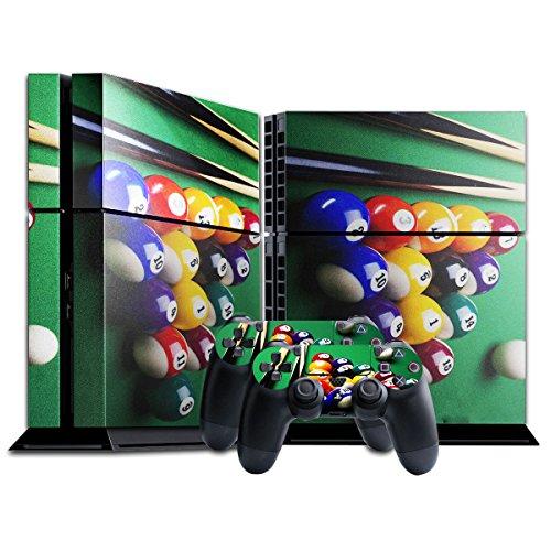 Sport 006, Snooker, Designfolie Sticker Skin Aufkleber Schutzfolie mit Farbenfrohem Design für Playstation 4 CUH 1200
