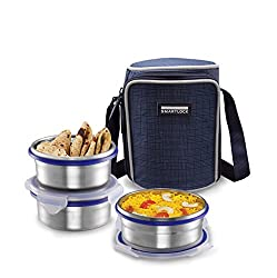 Smart lock Classic Steel Airtight Tiffin pack with insulated Bag, 400 ml, Silver, Set of 3