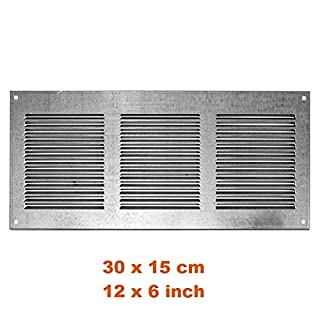 Lüftungsgitter Abschlussgitter Insektenschutz Abluft Zuluft Gitter 300x150mm , Zink, MR3015zn
