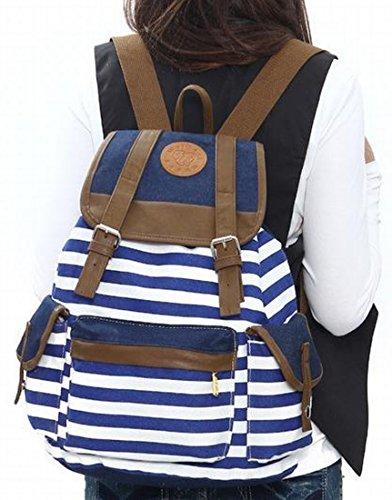 XQS College Classics Serie gestreift Rucksack Tasche Schultasche blau blau One-size (China Large) (Laptop Zebra-druck)